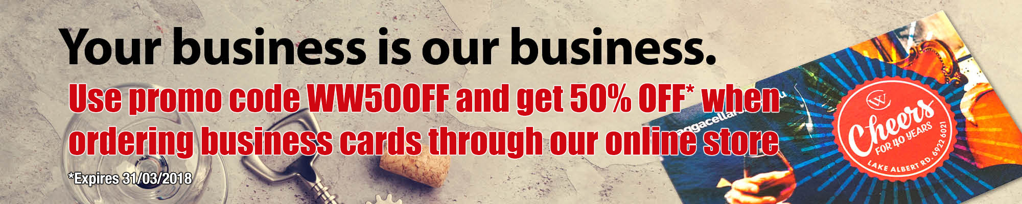 Use WW50OFF to get 50% off business cards