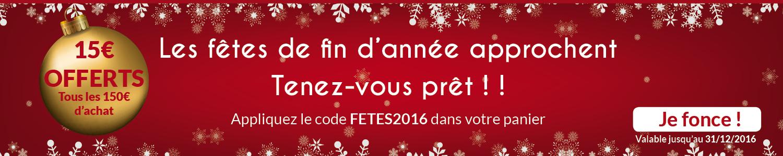 Fêtes de fin d'année : 15€ offerts tous les 150€ d'achat !