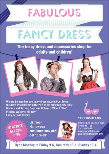 fancy dress a5 flyers
