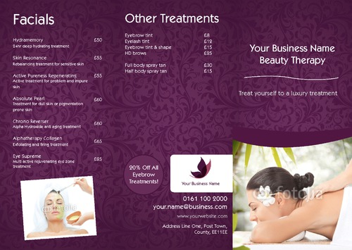 Online print templates uk for Massage price list template
