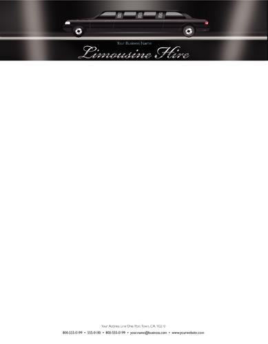 """Limousine Hire 8.5"""" x 11"""" Stationery by Paul Bullock"""