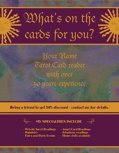 """Tarot Card Reader 8.5"""" x 11"""" Flyers by C V"""
