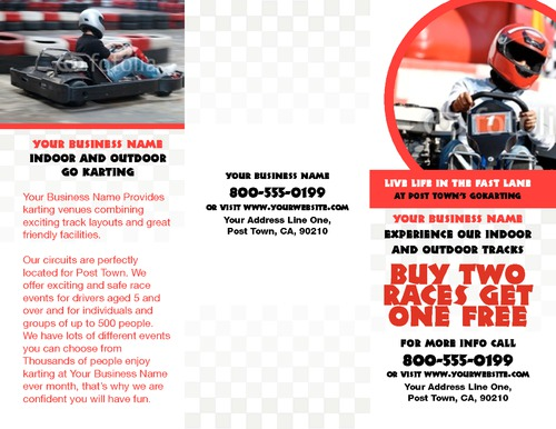 "Go Karting 8.5"" x 11"" Brochures by TemplateCloud.com"