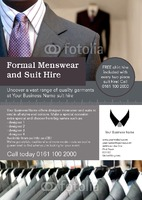 Suit Hire A5 Flyers by Templatecloud