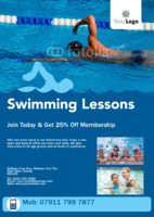 Swimming Lessons A5 Flyers by Templatecloud