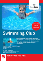 Swimming Lessons A6 Flyers by Templatecloud